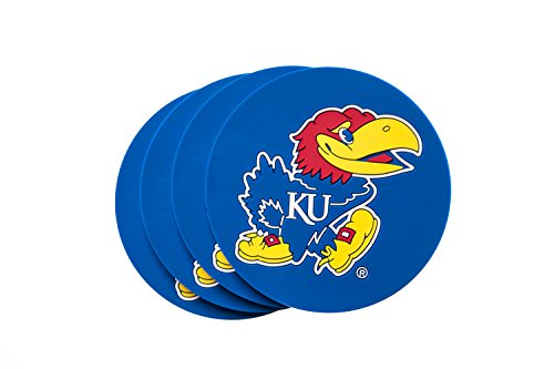 KANSAS JAYHAWKS 4-Pack NCAA PVC Coaster by Collegiate Pulse