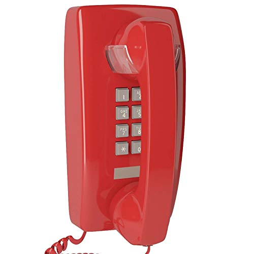 Home Intuition Single Line Wall Mounted Corded Telephone with Extra Loud Ringer, Red (Single Line Loud Ringer)