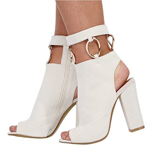 Ladies Back Heel Botas Cut Calzado Blanco CORE Open Off Peeptoe Womens Tamaño Out Block COLLECTION 3 High 8 UXE8Hq