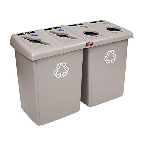 Rubbermaid Commercial 1792374 Glutton Recycling Station, 4-Stream, 92-Gallon, -