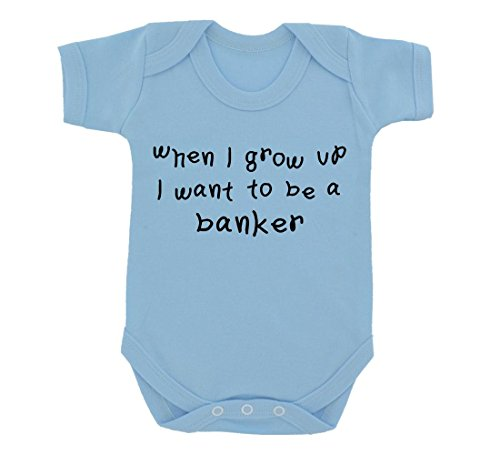When I Grow Up   A Banker Baby Bodysuit Sky Blue With Black Print