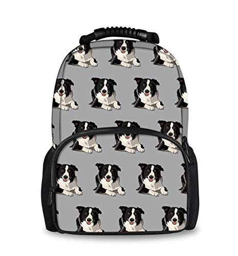 INWANZI Lightweight Durable Bookbag Backpack for College High School, Kids Adult Youth School Bags, Outdoor Travel Hiking Camping Daypack - Cute Border Collie