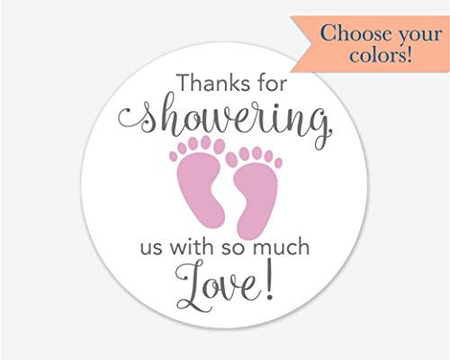 - 40ct, Baby Shower Stickers, Thanks for Showering us, Girl Boy and Gender Neutral Shower Stickers (#681-1-BP)