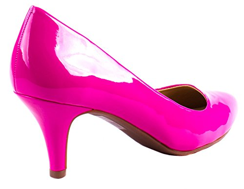 Geclassificeerde Comfort Dames James-h Lakleder Amandel Teen Slip Op Hak Pumps Roze