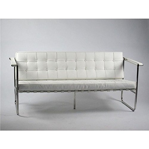 Fine Mod Imports Celona Sofa White/Stainless Steel/Contemporary/Modern