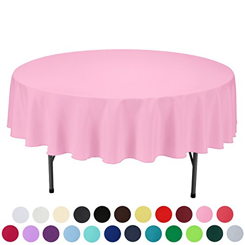 VEEYOO 90 inch Round Solid Polyester Tablecloth for Wedding Restaurant Party, Pink