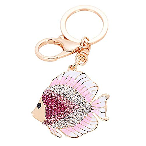 - Kuohai Crystal Keychain Animal Keyring Car Bag Accessories Business Birthday Gifts Beautiful Pendant (Fish pink)