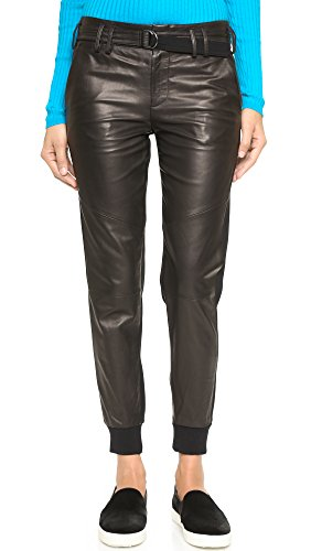 Vince Women's Leather Belted Jogger Pants, Black, 8