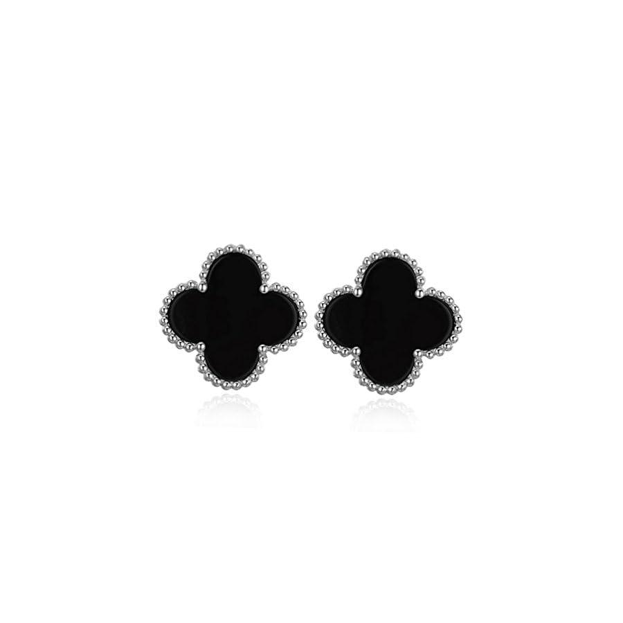 Valice Clover Earrings Sterling Silver Seashell Agate Stud Earrings