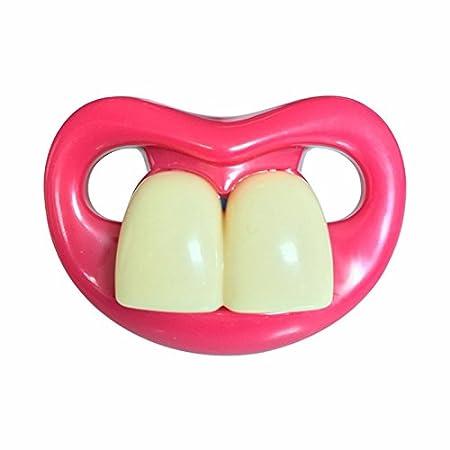 CARDMOE Lustige Silikon-Baby-Dusche-Schnuller Nette Lippen-Silikon-Nippel-Dummy-Bei/ßring-B/ärte mit dummen gro/ßen roten Lippen und Z/ähnen perfektes Baby-Geschenk f/ür kleine Jungen oder M/ädchen