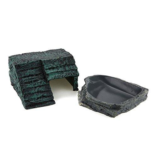 ComSaf Resin Terrarium Reptile&Amphibian Habit Decoration Pack(Imitated Rock Step Hideout+Corner Water Bowl) by ComSaf