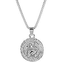 Wintefei Unisex Saint Christopher Protect Us Letter Print Holy Pendant Necklace Amulet