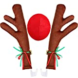 #4: Tatuo Car Reindeer Antlers and Nose Window Roof-Top and Reindeer Jingle Bell Christmas Costume Auto Accessories, Christmas Car Decorations Reindeer Kit, Holiday Car Window Decoration