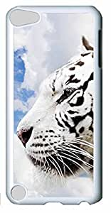 Fashion Customized Case for iPod Touch 5 Cool White Plastic Case Back Cover for iPod Touch 5th with White Tiger Kimberly Kurzendoerfer