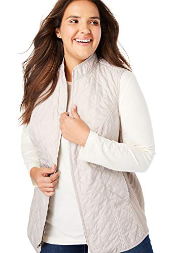 Woman Within Women's Plus Size Zip-Front Quilted Vest - Soft Sand, 3X ()