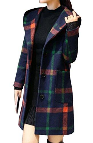 ARTFFEL Womens Plaid Hooded Wool Pea Coat Winter Trench Jacket Outwear Green (Hooded Wool Peacoat)