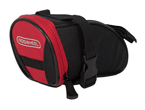 Roswheel 13656 Bike Saddle Bag Bicycle Under Seat Pack Cycling Accessories Pouch, Black/Red (Seat Black Bike)