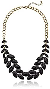 """Black Faceted Stone Fern Statement Necklace, 20.5"""" + 3"""" Extender"""