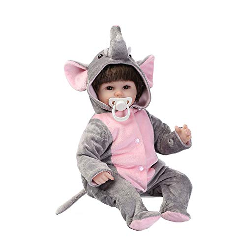 EOS&HELIOS Misszhang-US 16inch Lovely Cute Elephant Realistic Lifelike Silicone Baby Reborn Doll Toy Pink