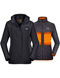 [2019 New Women's 3-in-1 Heated Jacket with Battery Pack, Ski Jacket Winter Jacket with Removable Hood Waterproof