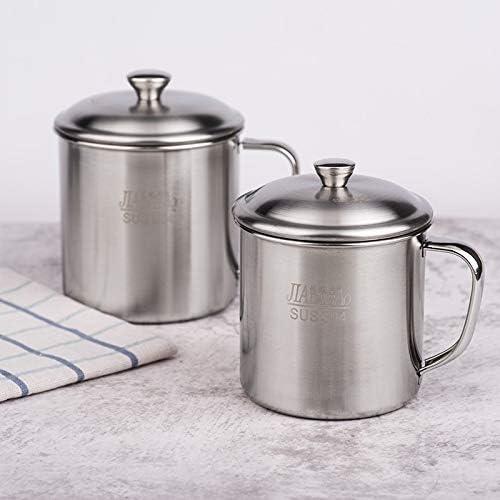 Liye 5 PCS極厚304ステンレススチールカップ子供用マウスカップハンドルカバー付き家庭用大人飲料水カップ9cmカバー付き