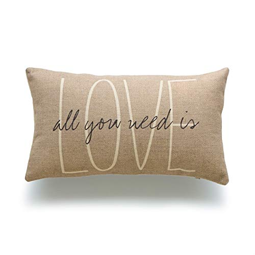(Hofdeco Decorative Lumbar Pillow Cover HEAVY WEIGHT Cotton Linen His and Her Tan Love Is All You Need Script 12