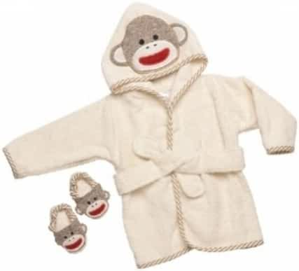 Sock Monkey Hooded Bath Robe Towel & Slipper Gift Set (0-9 Months) by Baby Starters