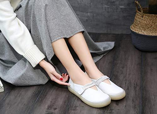 Talon Jane Chaussures Coutures De Confort Femmes White Autumn Mary Plat Littraire Mocassins Pour Sans qP6EY0tw