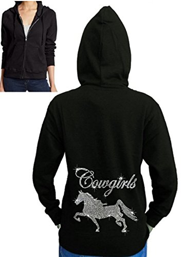 Interstate Apparel Inc Juniors Cowgirl Horse Rhinestone Fleece Zipper Hoodie Black S-2XL (S (Juniors), Black)