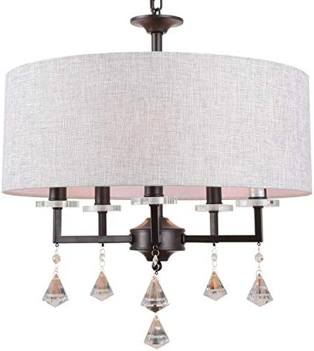 Alice House 20 Drum Chandeliers, Brown Finish, Farmhouse Dining Room Light Fixtures with 5 Lights, Contemporary Drum Light for Bedroom and Entryway AL9054-H5