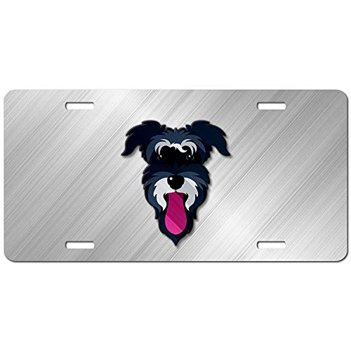 Schnauzer Face Personalized Car Front Tag for Dog Lovers Aluminum Auto Truck License Plate Frame Cover 12 x 6 Inch