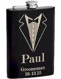 Acquisition 8oz Black Tuxedo Groomsmen Flask in Gift Box with Free Personalization saleoff