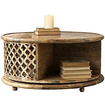Elegant Creative Co Op Rotating Round Mango Wood Coffee Table