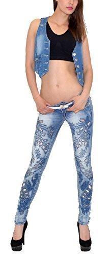 avec j53 florale jean fleur Jean skinny tex femme dentelle Typ brod vintage pointe by J53 rtro UIaqx