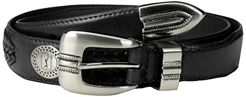 PGA TOUR Men's Ornamented Belt with Lacing, Black, 36 (Golf Concho Belts)