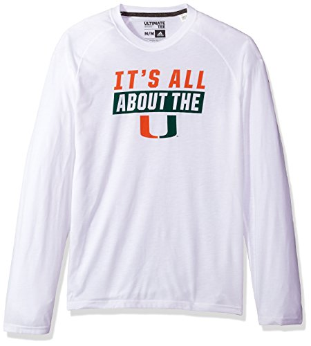 adidas NCAA Miami Hurricanes Mens Block Statement Ultimate L/S Teeblock Statement Ultimate L/S Tee, White, Large