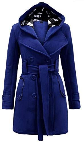 5985fb87b8be À Femme Manteau Chaude Veste Laine Yogly Capuche Hiver En Une Ceinture Bleu  Blouson Avec Outwear ...