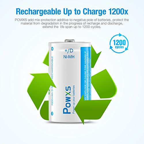 POWXS D Cell Rechargeable D Batteries, Long-Lasting Pre-Charged 7000mAh D Size Ni-MH Battery - 4 Pack