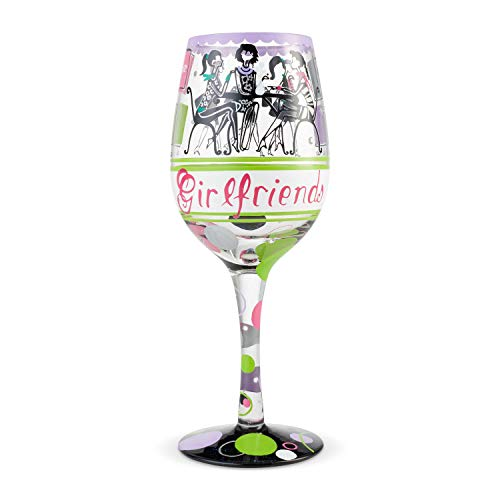 Enesco 6004358 Designs by Lolita Girlfriends Together Hand-Painted Artisan Wine Glass, 15 Ounce, Multicolor
