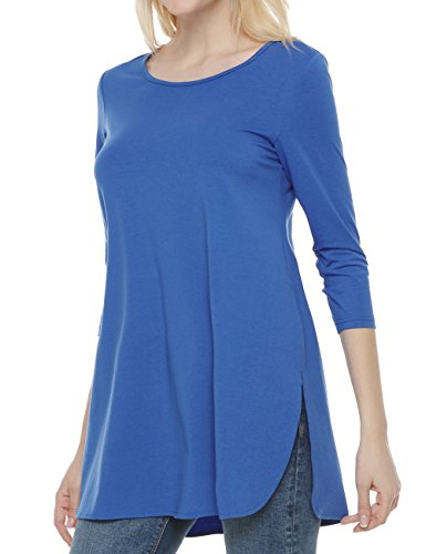 Ortilerri 3/4 Sleeve Tunic Tops, Women's Side Slit Shirt (Blue,L)