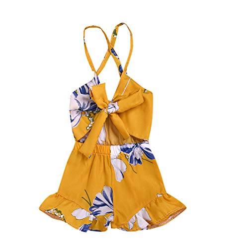 MA&BABY Baby Girls Halter One-Pieces Romper Jumpsuit Sunsuit Outfit Clothes 0-24M (18-24 Months, Yellow -