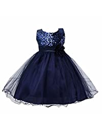 6 Colors Baby Girl Gowns Christening Pageant Sequins Dress Flower Wedding Dresses