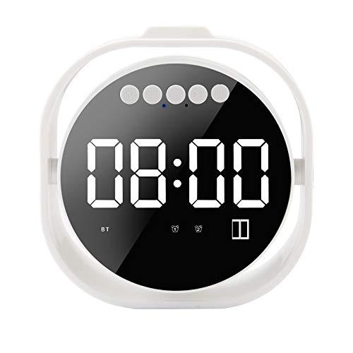 Aobiny Bluetooth Speaker,Waterproof Bluetooth Speaker,Portable Bluetooth Speaker,LED Mirror Alarm Clock Portable Bluetooth Speaker USB Wireless Subwoofer FM (White) ()