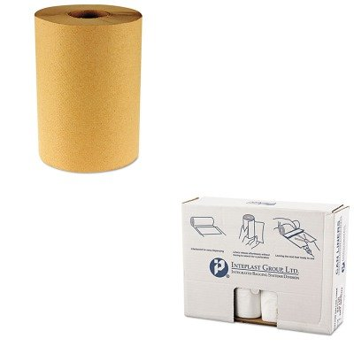 KITBWK6256IBSVALH4348N16 - Value Kit - Integrated Bagging Systems VALH4348N16 Natural Can Liners, 14 Micron, 55 - 60 Gallons (IBSVALH4348N16) and Boardwalk 6256 Natural Hardwound Roll Paper Towels, 8quot; x 800' (BWK6256)