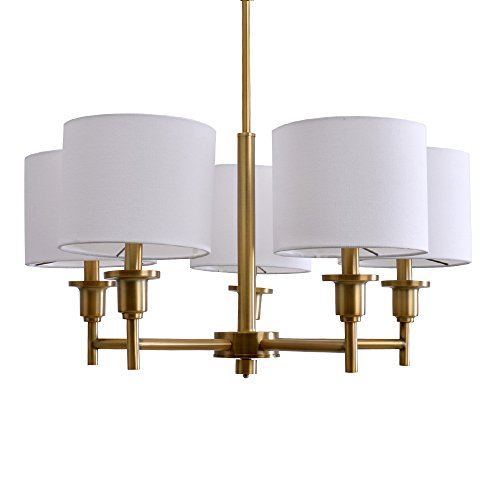 Catalina Lighting 19742-001 Allison Catalina 5-Light Shaded Chandelier Plated, Brass For Sale
