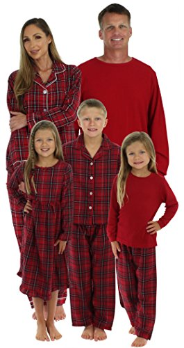 SleepytimePjs Family Matching Plaid Thermal Pajamas PJs Sets for the Family Kids Lounger (Red Plaid Pajamas Kids)