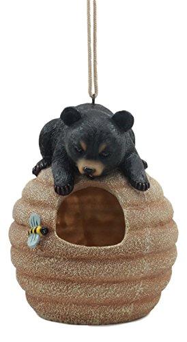 Ebros Wildlife Rustic Bee Honey Pot Black Bear Bird Feeder Platform Hanger Honey Harvest Decorative Figurine ()