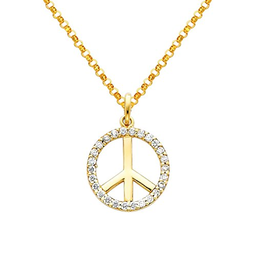 Wellingsale 14k Yellow Gold Polished Peace Sign CZ Cubic Zirconia Charm Pendant with 1.6mm Classic Cable Chain Necklace - 18