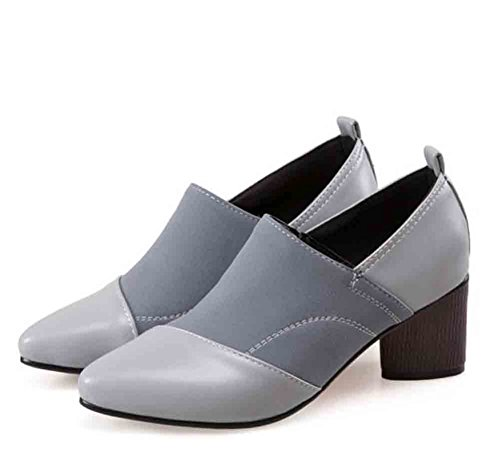 Chunky Elegant Womens Pointed Easemax Suede Toe Mid Faux Heel Gray Shoes Pumps Stitching 6q8nxRwA