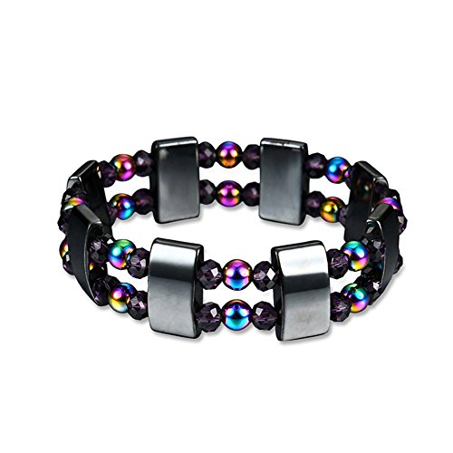 Colorful Magnetic Hematite Therapy Bracelet for Girls and Women Fashion Wristband Healing Bracelet Gifts for Birthday Mother Wedding Valentines Christmas Back to - Hematite Rice